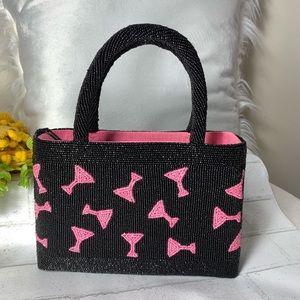 Seaglass Collection Black & Pink Beaded Bag